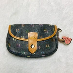 Dooney & Bourke Black Tan Rainbow Wristlet Wallet